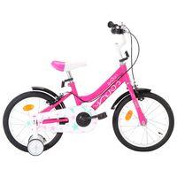 vidaXL Детски велосипед, 16 цола, черно и розово