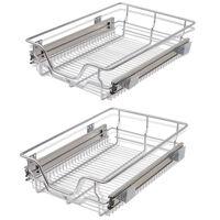 vidaXL Плъзгащи се телени кошници, 2 бр, сребристи, 400 мм