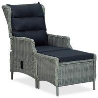 vidaXL Накланящ градински стол с поставка за крака полиратан светлосив