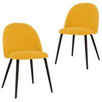vidaXL Трапезни столове, 2 бр, жълти, текстил