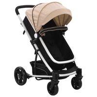 vidaXL Детска/бебешка количка 2-в-1, таупе и черно, алуминий