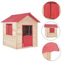 vidaXL Детска къща за игра, чамова дървесина, червена