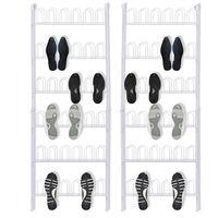 vidaXL Закачалки за 18 чифта обувки, 2 бр, стомана, бели