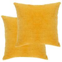 vidaXL Комплект възглавници, кадифе, 2 бр, 45x45 см, жълт