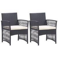 vidaXL Градински кресла с възглавници, 2 бр, черен полиратан