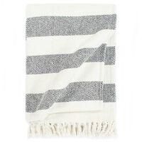 vidaXL Декоративно одеяло, памук, ивици, 125x150 см, антрацит