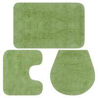 vidaXL Комплект постелки за баня, 3 бр, текстил, зелени