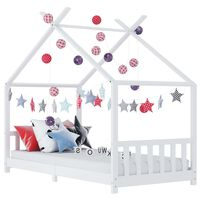vidaXL Рамка за детско легло, бяла, бор масив, 90х200 см
