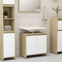 vidaXL Шкаф за баня, бяло и дъб сонома, 60x33x58 см, ПДЧ