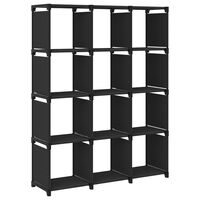 vidaXL Рафт с 12 кубични отделения, черен, 103x30x141 см, плат