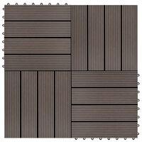 vidaXL 22 бр декинг плочки, 30x30 см, 2 кв.м., WPC, тъмнокафяви