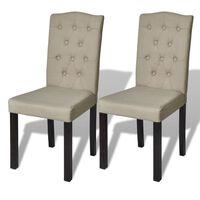 vidaXL Трапезни столове, 2 бр, бежови, текстил
