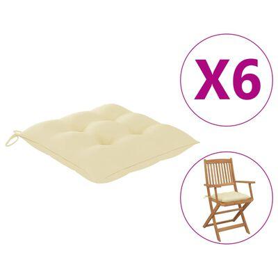 vidaXL Възглавници за градински столове 6 бр кремави 40x40x7 см плат