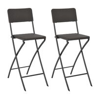 vidaXL Сгъваеми бар столове, 2 бр, HDPE и стомана, кафяви, ратанов вид