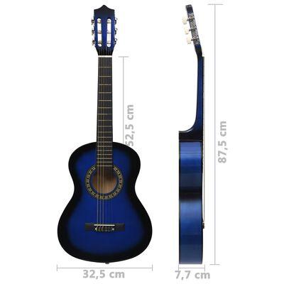 """vidaXL Класическа китара за начинаещи и деца, синя, 1/2, 34"""""""