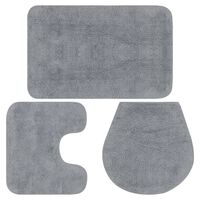 vidaXL Комплект постелки за баня, 3 бр, текстил, сиви