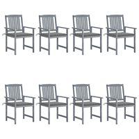 vidaXL Градински столове с възглавници, 8 бр, акация масив, сиви