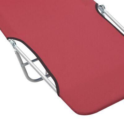 vidaXL Сгъваеми шезлонги, 2 бр, стомана и текстил, червени