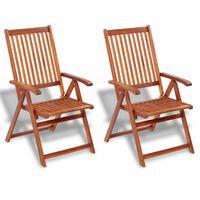 vidaXL Сгъваеми градински столове, 2 бр, акация масив, кафяви
