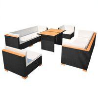 vidaXL Градински комплект с възглавници, 10 части, черен полиратан
