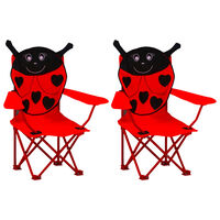vidaXL Детски градински столове, 2 бр, червени, текстил