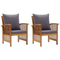 vidaXL Градински столове с възглавници, 2 бр, акациево дърво масив