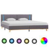 vidaXL Рамка за легло с LED, светлосива, текстил, 180x200 см