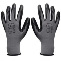 vidaXL Работни ръкавици, от нитрил, 24 чифта, сиво и черно, размер 10/XL