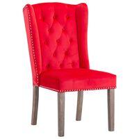 vidaXL Трапезен стол, червен, кадифе