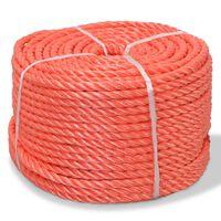 vidaXL Усукано въже, полипропилен, 8 мм, 200 м, оранжево