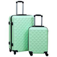 vidaXL Комплект твърди куфари с колелца, 2 бр, мента, ABS