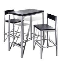 vidaXL Комплект маса и два стола за кухни/барове/кафенета