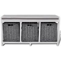 vidaXL Бял шкаф/пейка за входно антре с възглавница, с 3 кошници