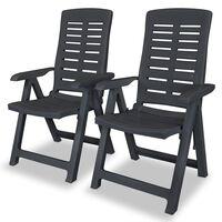vidaXL Градински столове, регулируеми, 2 бр, пластмаса, антрацит