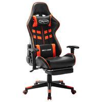 vidaXL Геймърски стол с подложка крака черно/оранжево изкуствена кожа