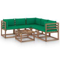 vidaXL Градински комплект зелени възглавници 6 части импрегниран бор