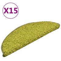 vidaXL Постелки за стъпала, 15 бр, зелени, 56x17x3 см