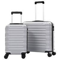 vidaXL Комплект твърди куфари с колелца, 2 бр, сребристи, ABS