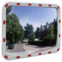 vidaXL Изпъкнало пътно огледало, правоъгълно, 60х80 см, с рефлектори