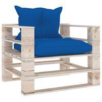 vidaXL Градински палетен диван с кралскосини възглавници, борово дърво