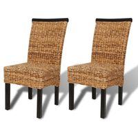 vidaXL Трапезни столове, 2 бр, абака и мангово дърво масив