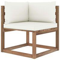 vidaXL Градински палетен ъглов диван с кремави възглавници