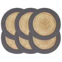vidaXL Подложки за хранене 6 бр натурално и антрацит 38 см юта и памук