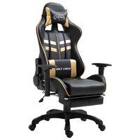 vidaXL Геймърски стол с подложка за крака, златисто, изкуствена кожа