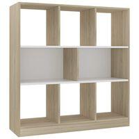 vidaXL Библиотека, бяло и дъб сонома, 97,5x29,5x100 см, ПДЧ
