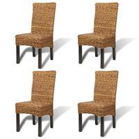 vidaXL Трапезни столове, 4 бр, абака и мангово дърво масив