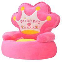 vidaXL Плюшен детски стол, Princess, розов