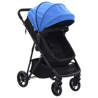 vidaXL Детска/бебешка количка 2-в-1, синьо и черно, стомана