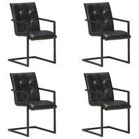 vidaXL Конзолни трапезни столове, 4 бр, черни, естествена кожа