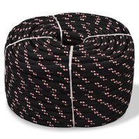 vidaXL Морско въже, полипропилен, 8 мм, 100 м, черно